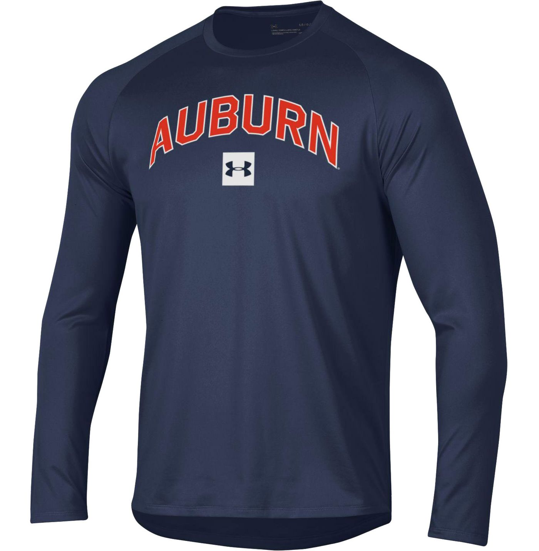 Under Armour Men's Auburn Tigers Blue Long Sleeve Tech Performance T-Shirt