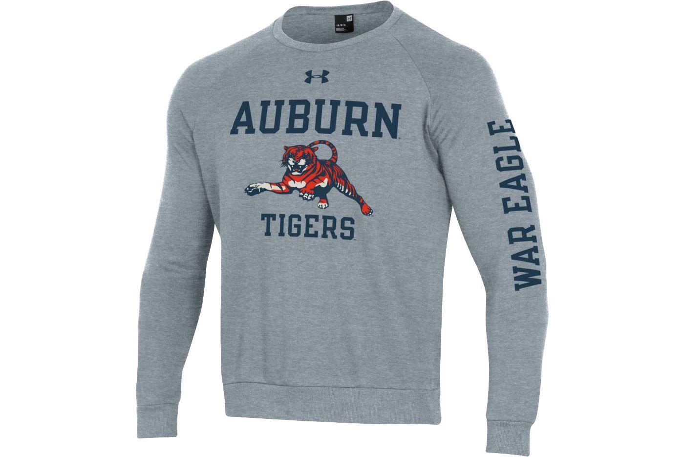 Under Armour Men's Auburn Tigers Grey All Day Fleece Crew Sweatshirt