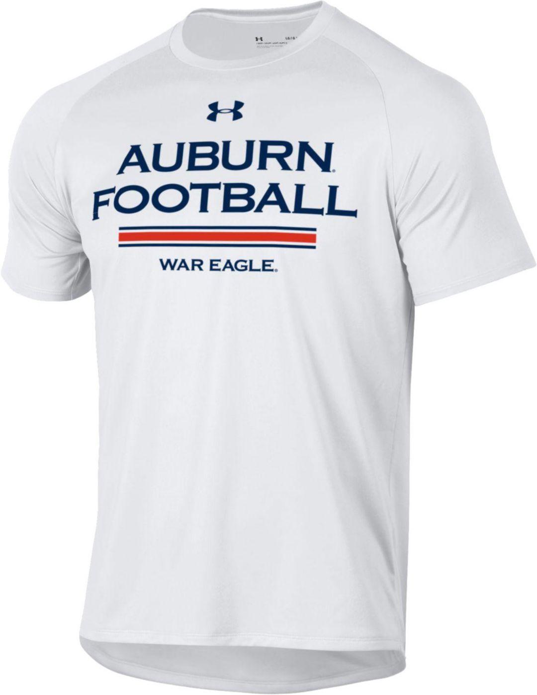 Under Armour Men S Auburn Tigers Tech Performance Football White T Shirt