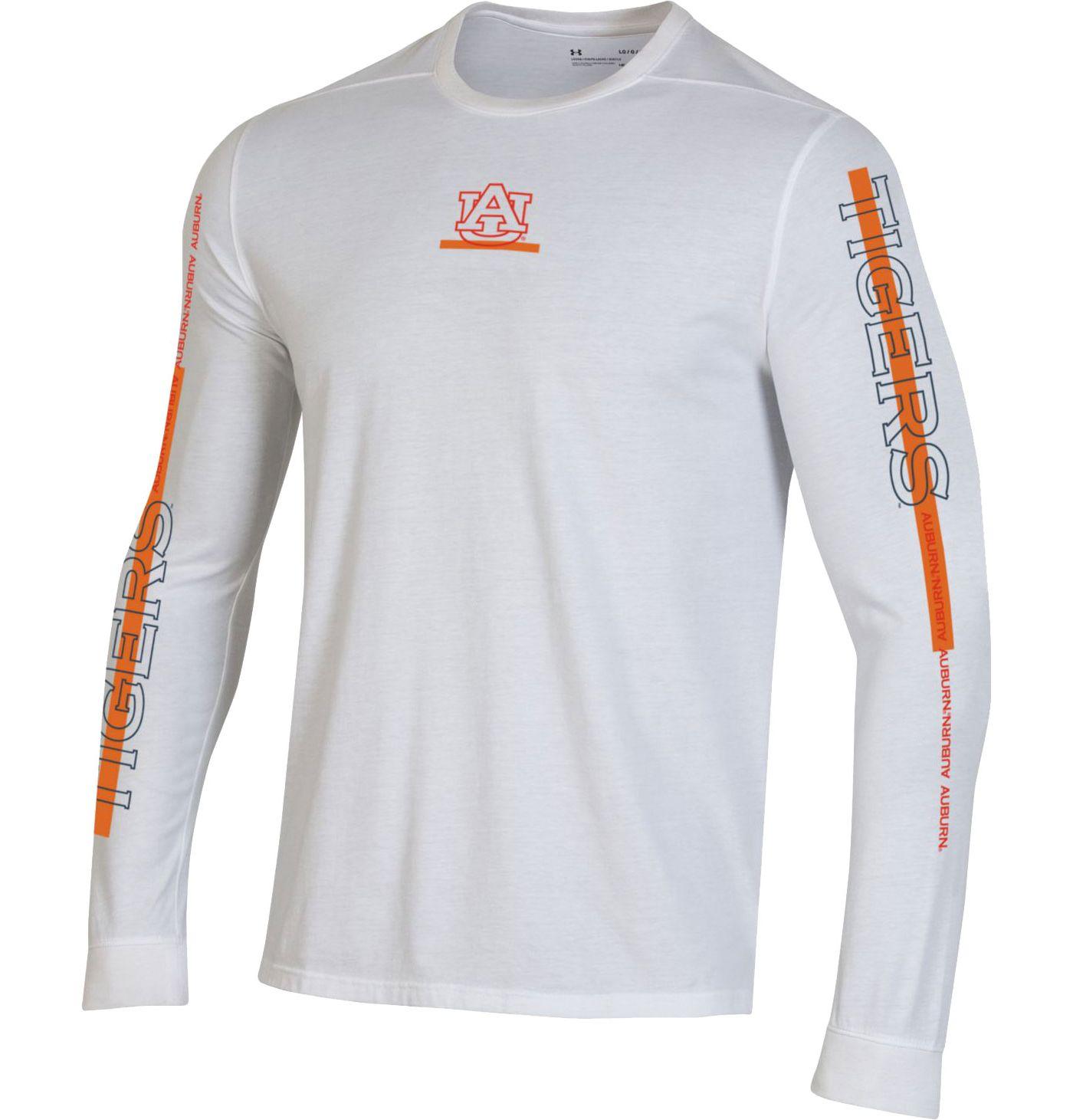 Under Armour Men's Auburn Tigers Hype On-Court Long Sleeve Basketball White T-Shirt