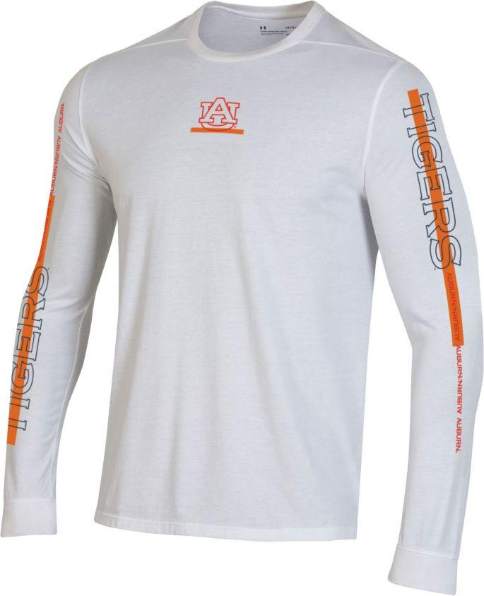 Under Armour Men S Auburn Tigers Hype On Court Long Sleeve Basketball White T Shirt