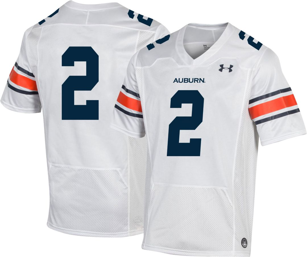 timeless design 80954 67c92 Under Armour Men's Auburn Tigers #2 Replica Football White Jersey