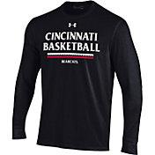 Under Armour Men's Cincinnati Bearcats On-Court Performance Cotton Long Sleeve Basketball Black T-Shirt