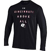 Under Armour Men's Cincinnati Bearcats Performance Cotton Long Sleeve Football Black T-Shirt