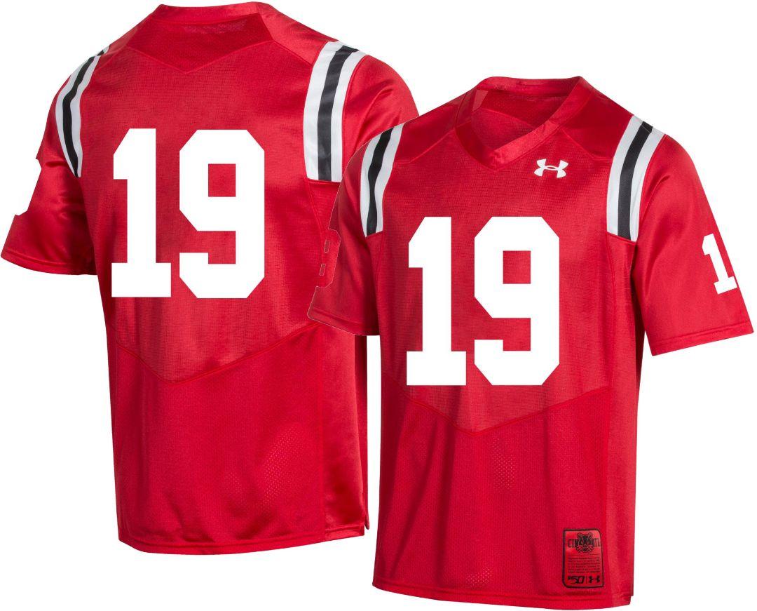 hot sale online aeb0a 6b45a Under Armour Men's Cincinnati Bearcats #19 Red 'CFB150' Replica Football  Jersey