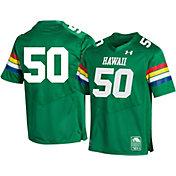 Under Armour Men's Hawai'i Warriors #50 Green 'CFB150' Replica Football Jersey