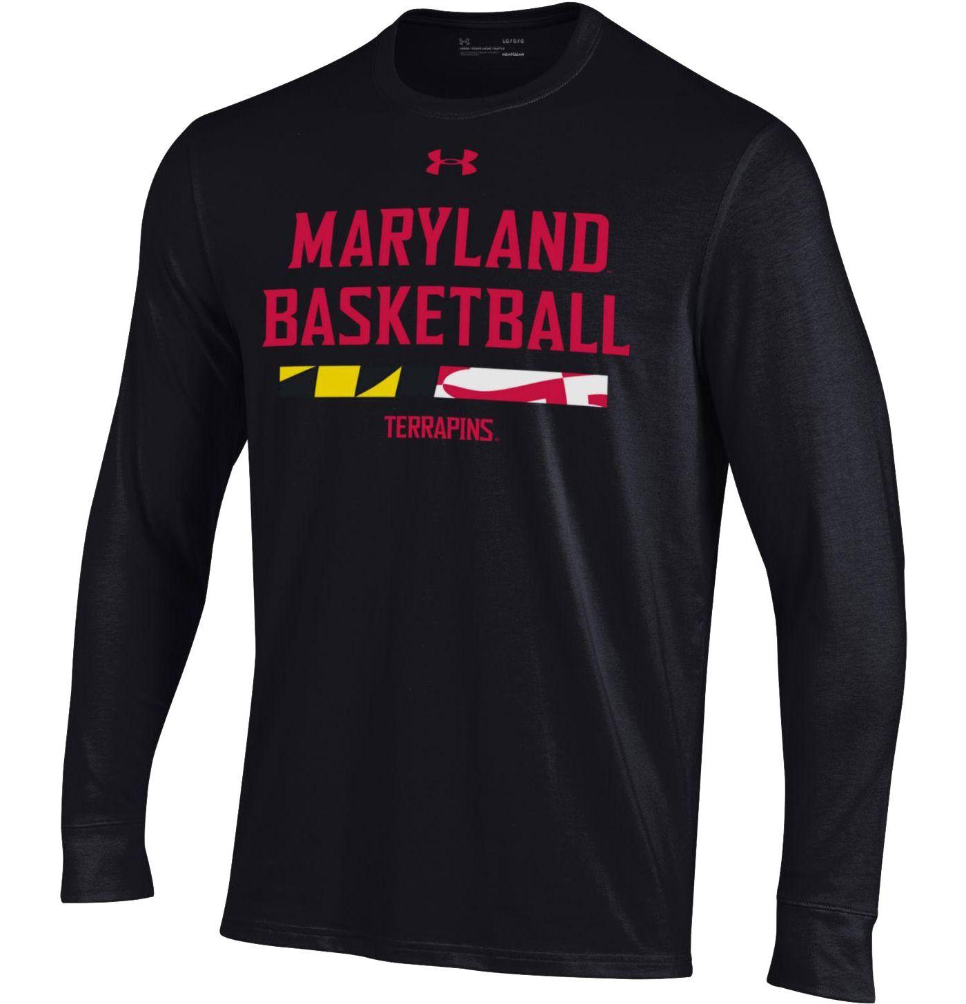 Under Armour Men's Maryland Terrapins On-Court Performance Cotton Long Sleeve Basketball Black T-Shirt
