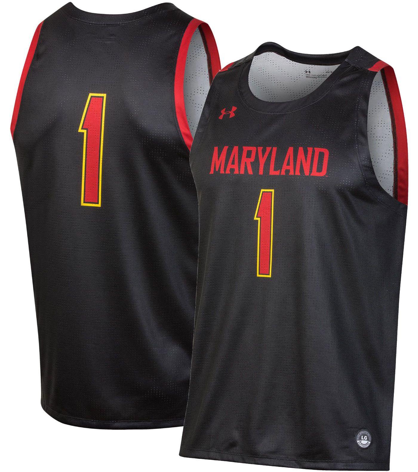 Under Armour Men's Maryland Terrapins #1 Replica Basketball Black Jersey