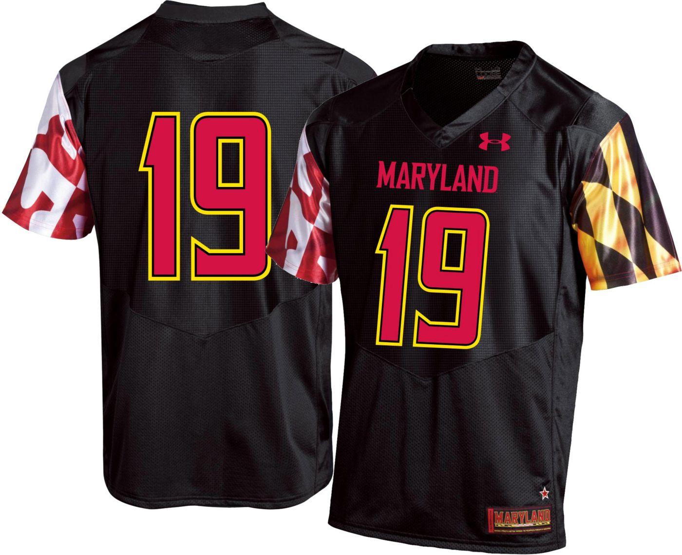 Under Armour Men's Maryland Terrapins #19 Replica Football Black Jersey