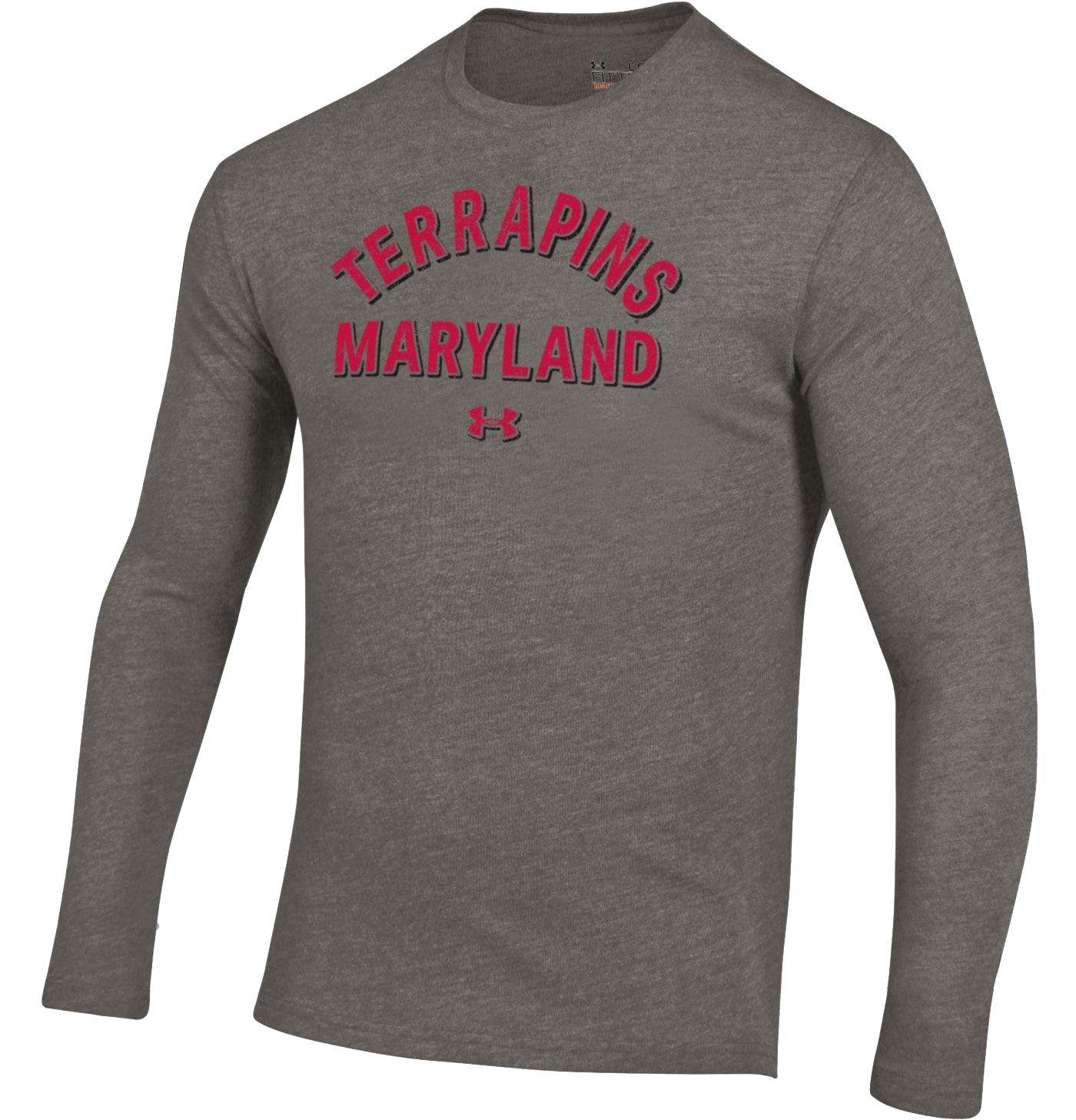 Under Armour Men's Maryland Terrapins Grey Tri-Blend Performance Long Sleeve T-Shirt