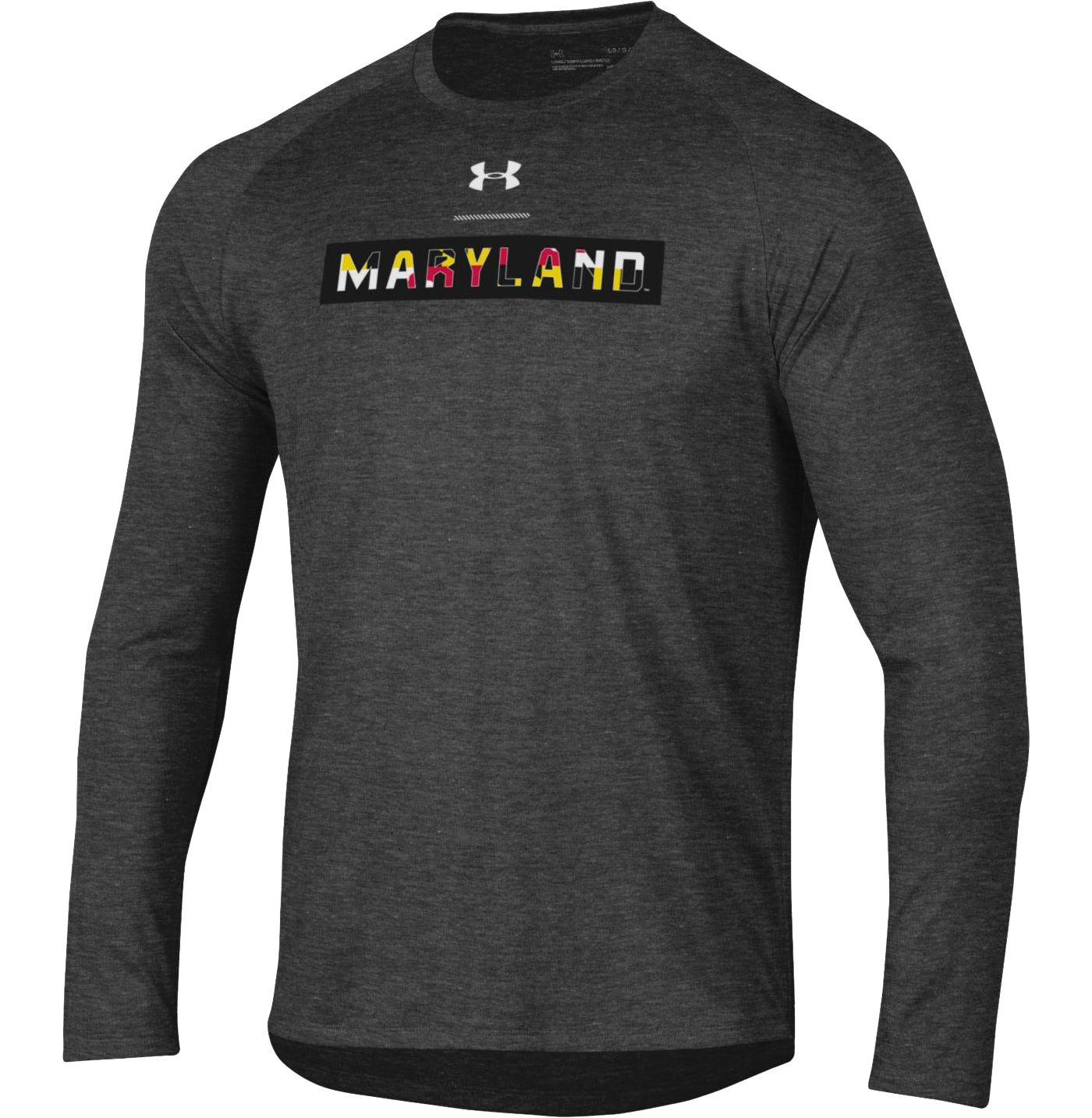 Under Armour Men's Maryland Terrapins Grey 'Maryland Pride' Long Sleeve Tech Performance T-Shirt