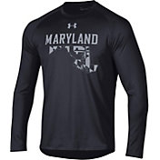 Under Armour Men's Maryland Terrapins 'Maryland Pride' Long Sleeve Tech Performance Black T-Shirt