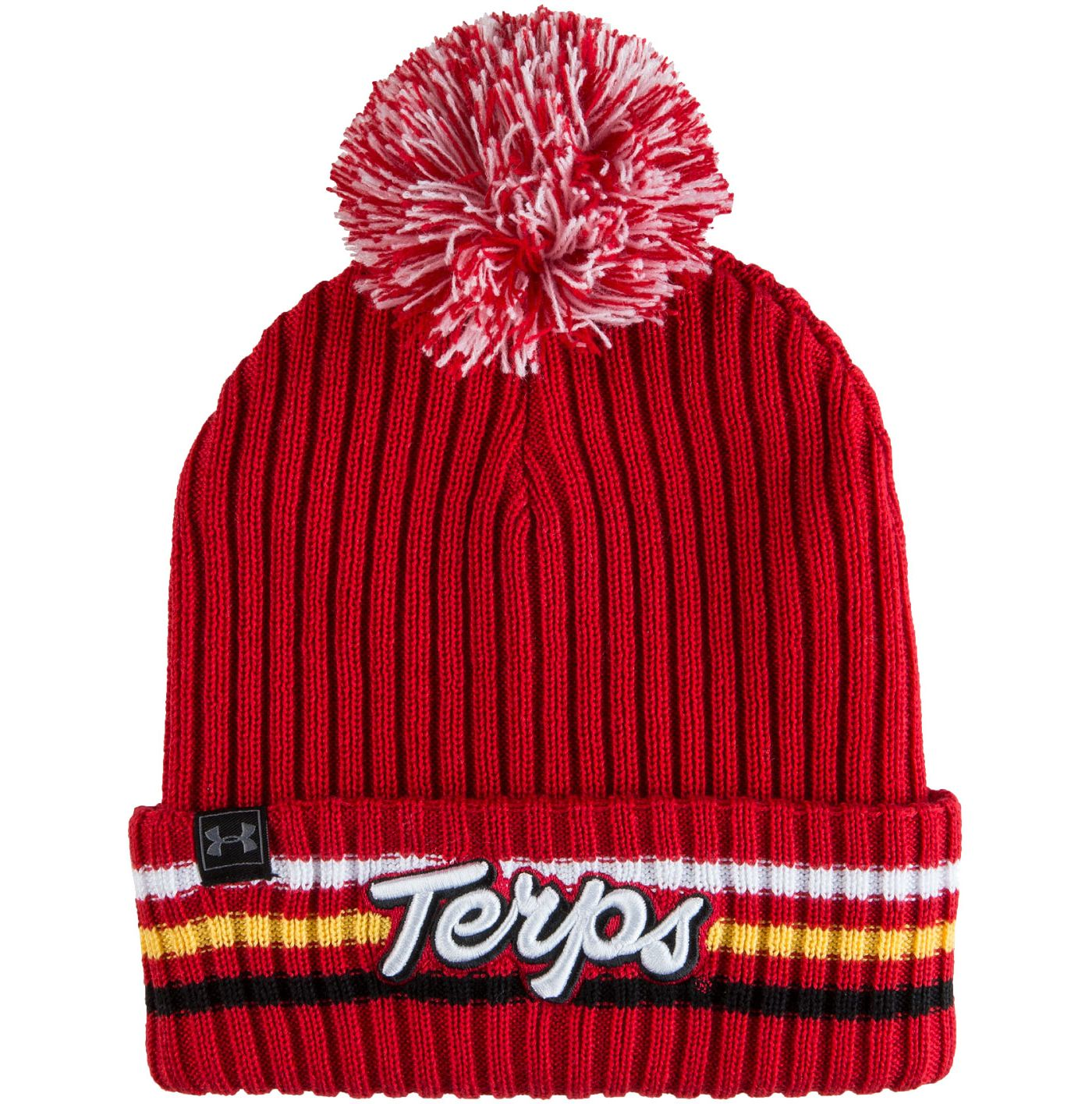 Under Armour Men's Maryland Terrapins Red Fundamental Pom Knit Beanie