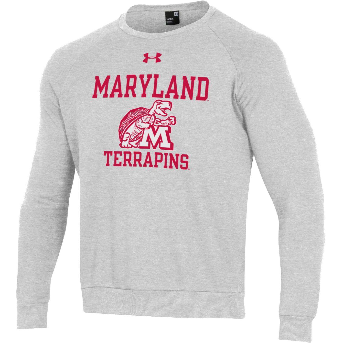 Under Armour Men's Maryland Terrapins Grey All Day Fleece Crew Sweatshirt