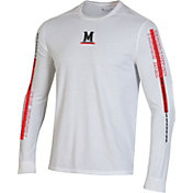 Under Armour Men's Maryland Terrapins Hype On-Court Long Sleeve Basketball White T-Shirt