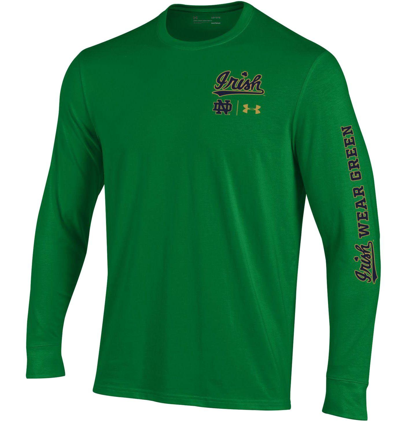 Under Armour Men's Notre Dame Fighting Irish 'Irish Wear Green' Performance Cotton Long Sleeve T-Shirt