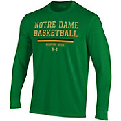 Under Armour Men's Notre Dame Fighting Irish Green On-Court Performance Cotton Long Sleeve Basketball T-Shirt