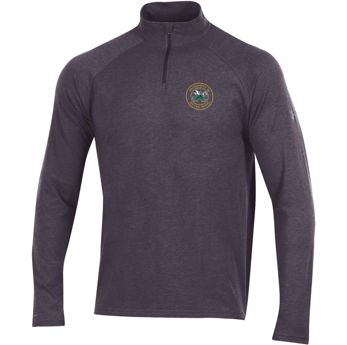 Under Armour Men's Notre Dame Fighting Irish Grey Charged Cotton Quarter-Zip Shirt