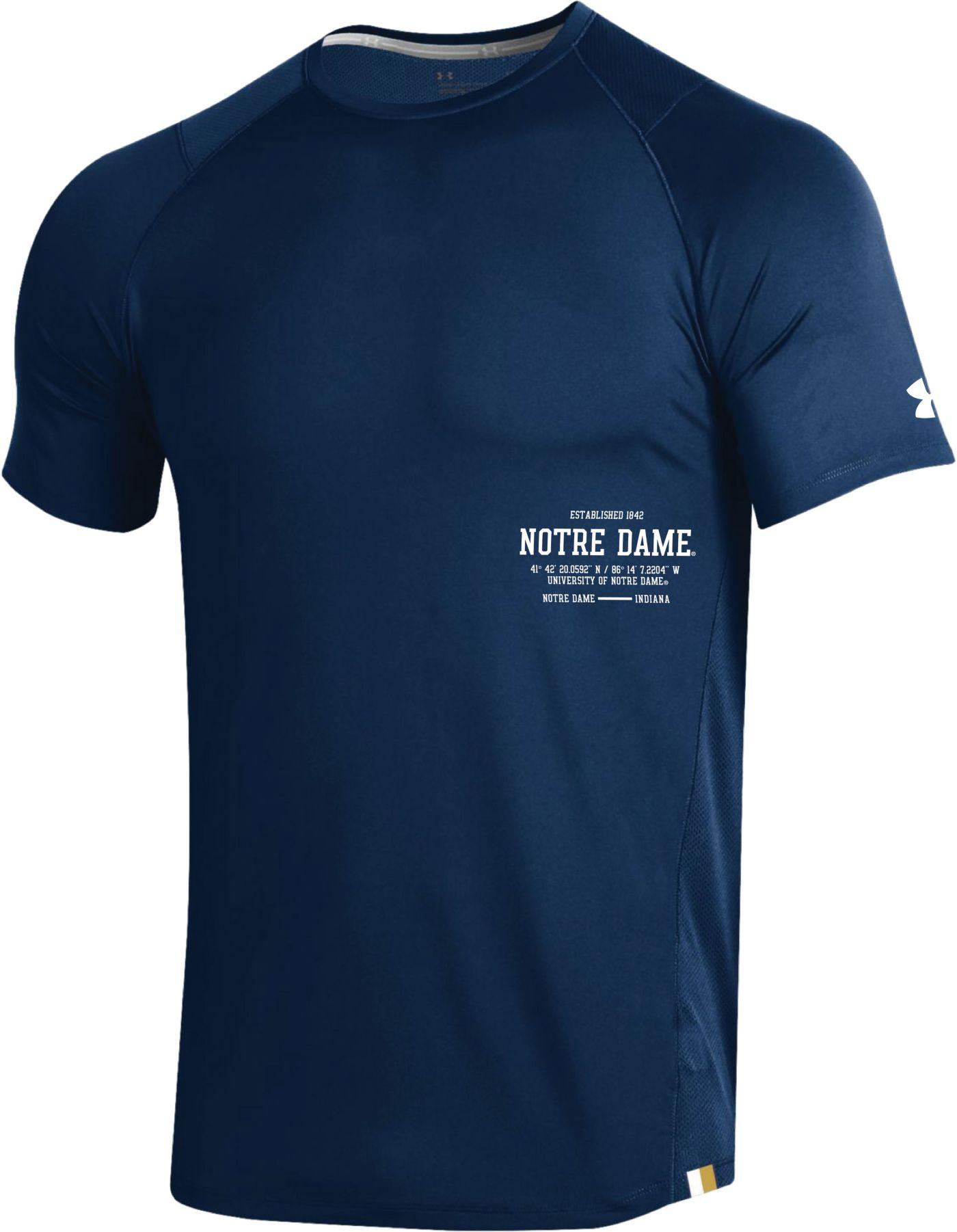 Under Armour Men's Notre Dame Fighting Irish Navy Coordinates MK1 Sideline T-Shirt
