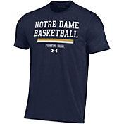 Under Armour Men's Notre Dame Fighting Irish Navy Performance Cotton On-Court Basketball T-Shirt