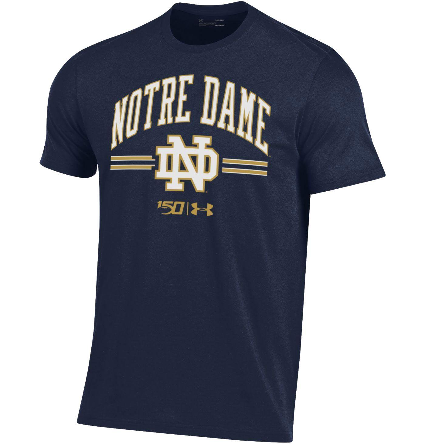 Under Armour Men's Notre Dame Fighting Irish Navy 'CFB150' Performance Cotton Football T-Shirt