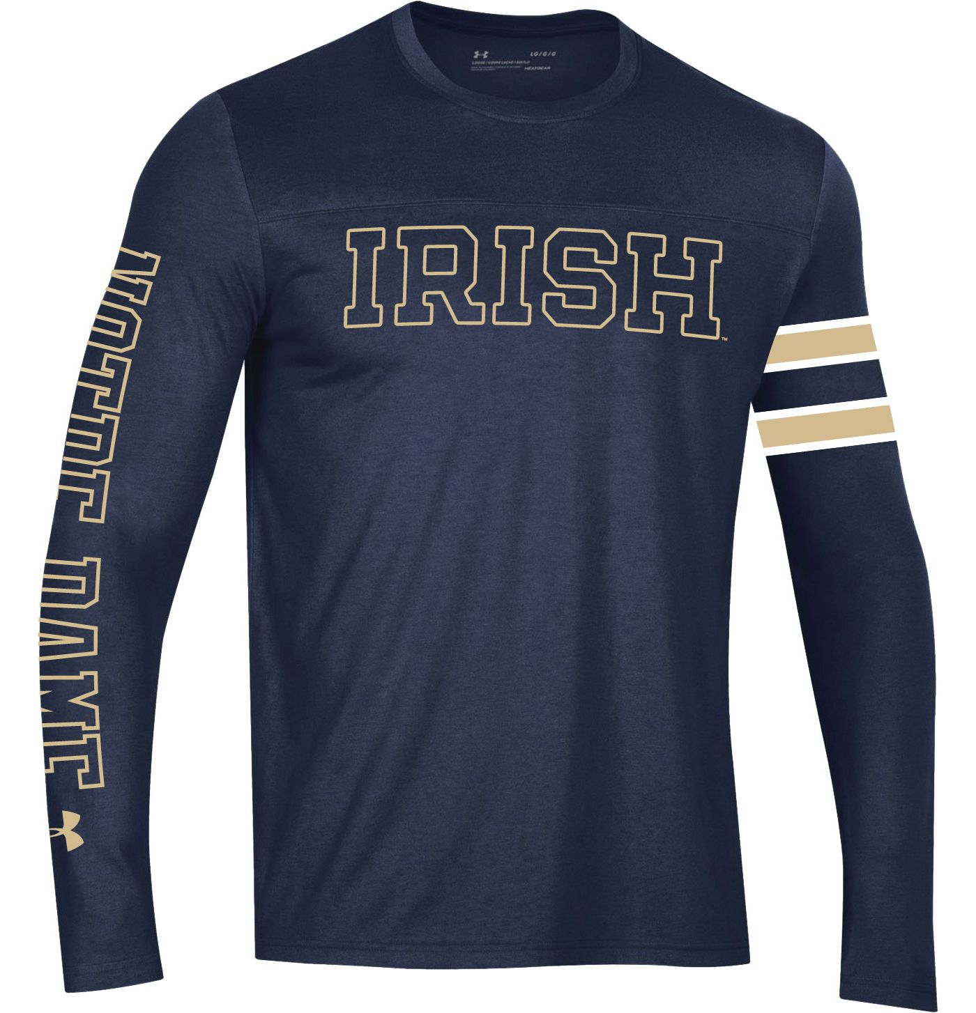 Under Armour Men's Notre Dame Fighting Irish Navy Performance Cotton Long Sleeve T-Shirt