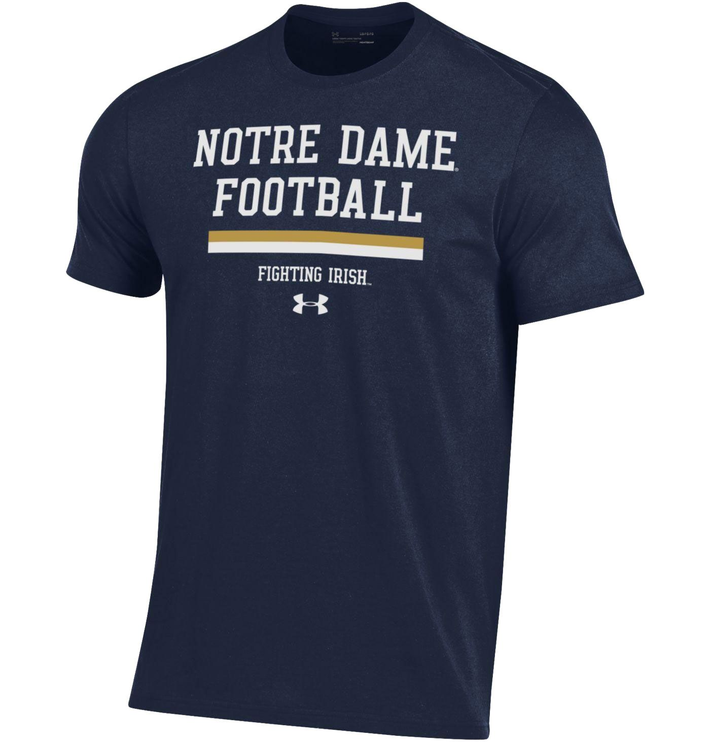 Under Armour Men's Notre Dame Fighting Irish Navy Football Performance Cotton T-Shirt