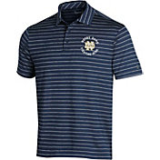Under Armour Men's Notre Dame Fighting Irish Navy Playoff Tour Striped Polo