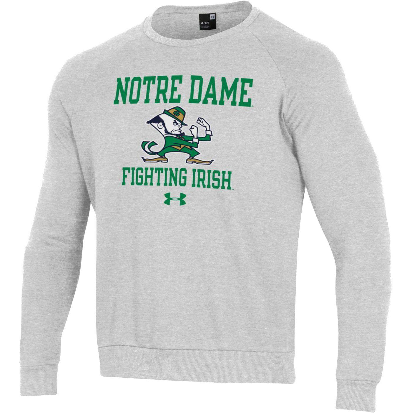 Under Armour Men's Notre Dame Fighting Irish Grey All Day Fleece Crew Sweatshirt