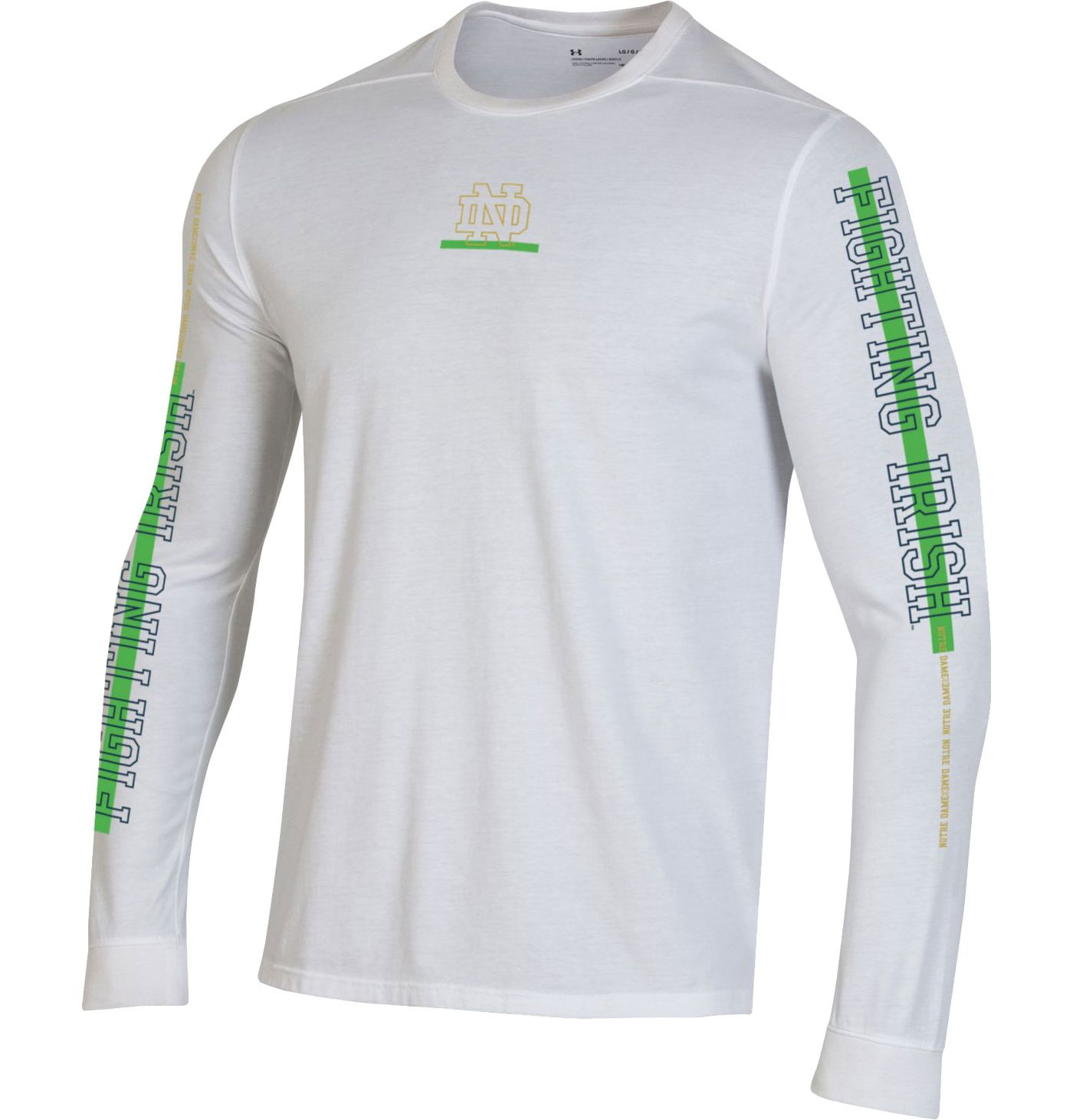 Under Armour Men's Notre Dame Fighting Irish Hype On-Court Long Sleeve Basketball White T-Shirt