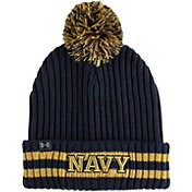 Under Armour Men's Navy Midshipmen Navy Fundamental Pom Knit Beanie