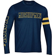 Under Armour Men's Navy Midshipmen Navy Performance Cotton Long Sleeve T-Shirt
