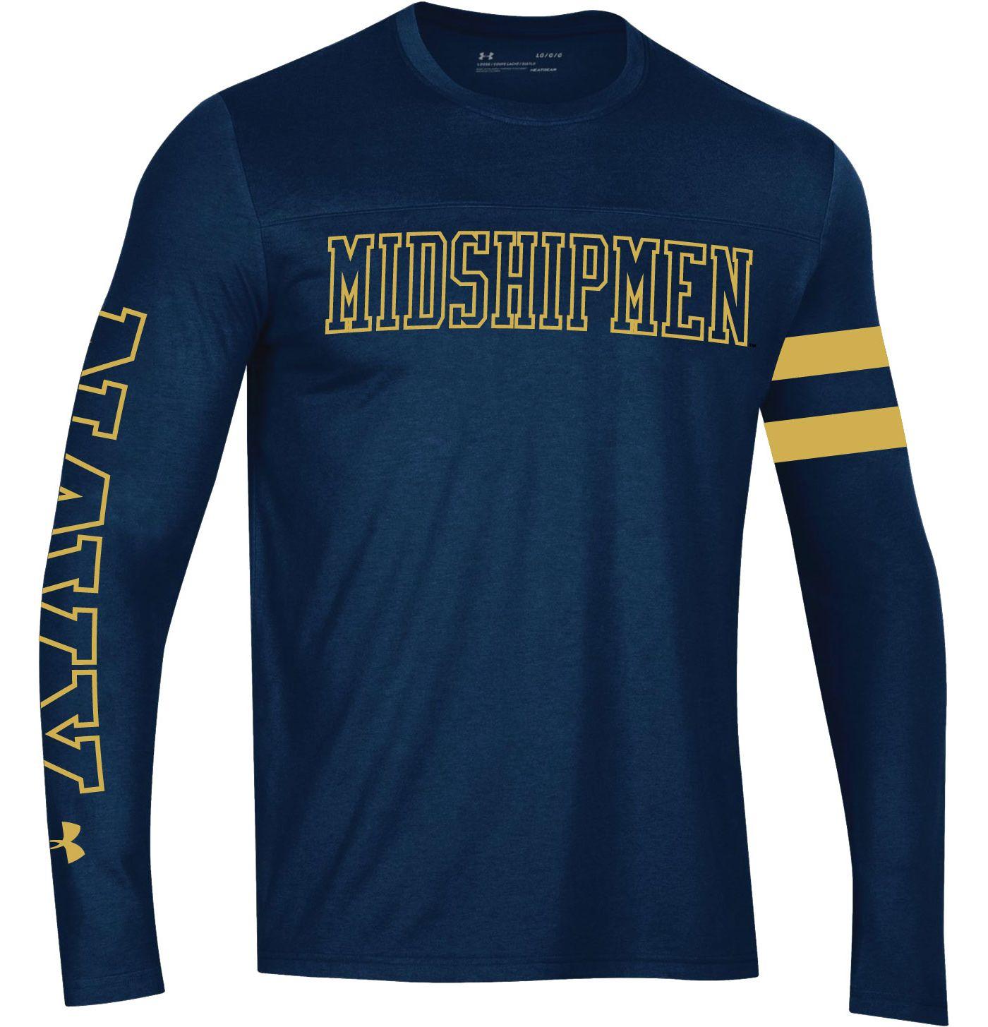 Under Armour Men's Navy Midshipmen Navy Performance Cotton Long Sleeve T-Shirt