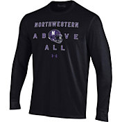 Under Armour Men's Northwestern Wildcats Performance Cotton Long Sleeve Football Black T-Shirt