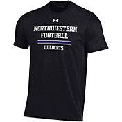 Under Armour Men's Northwestern Wildcats Performance Cotton Sideline Football Black T-Shirt