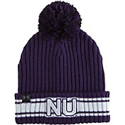 Under Armour Men's Northwestern Wildcats Purple Fundamental Pom Knit Beanie