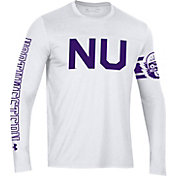 Under Armour Men's Northwestern Wildcats Performance Cotton Long Sleeve White T-Shirt