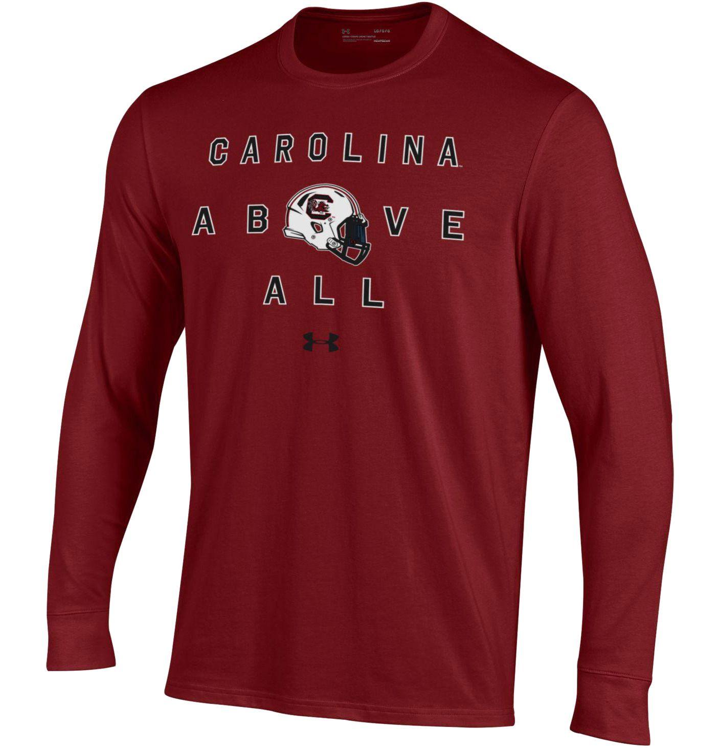 Under Armour Men's South Carolina Gamecocks Garnet Performance Cotton Long Sleeve Football T-Shirt