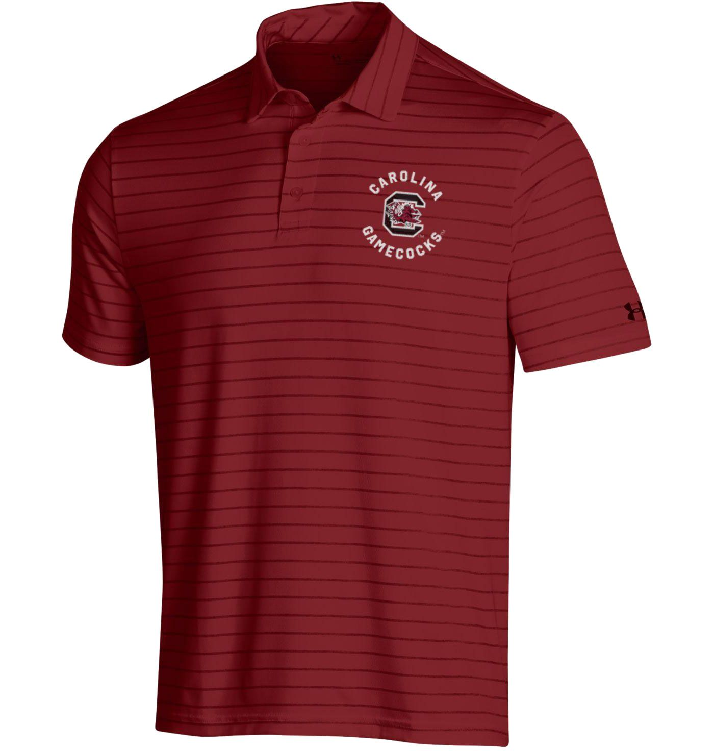 Under Armour Men's South Carolina Gamecocks Garnet Playoff Tour Striped Polo
