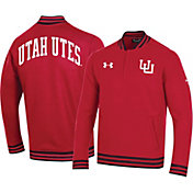 Under Armour Men's Utah Utes Crimson 'CFB150' Double-Knit Quarter-Zip Shirt