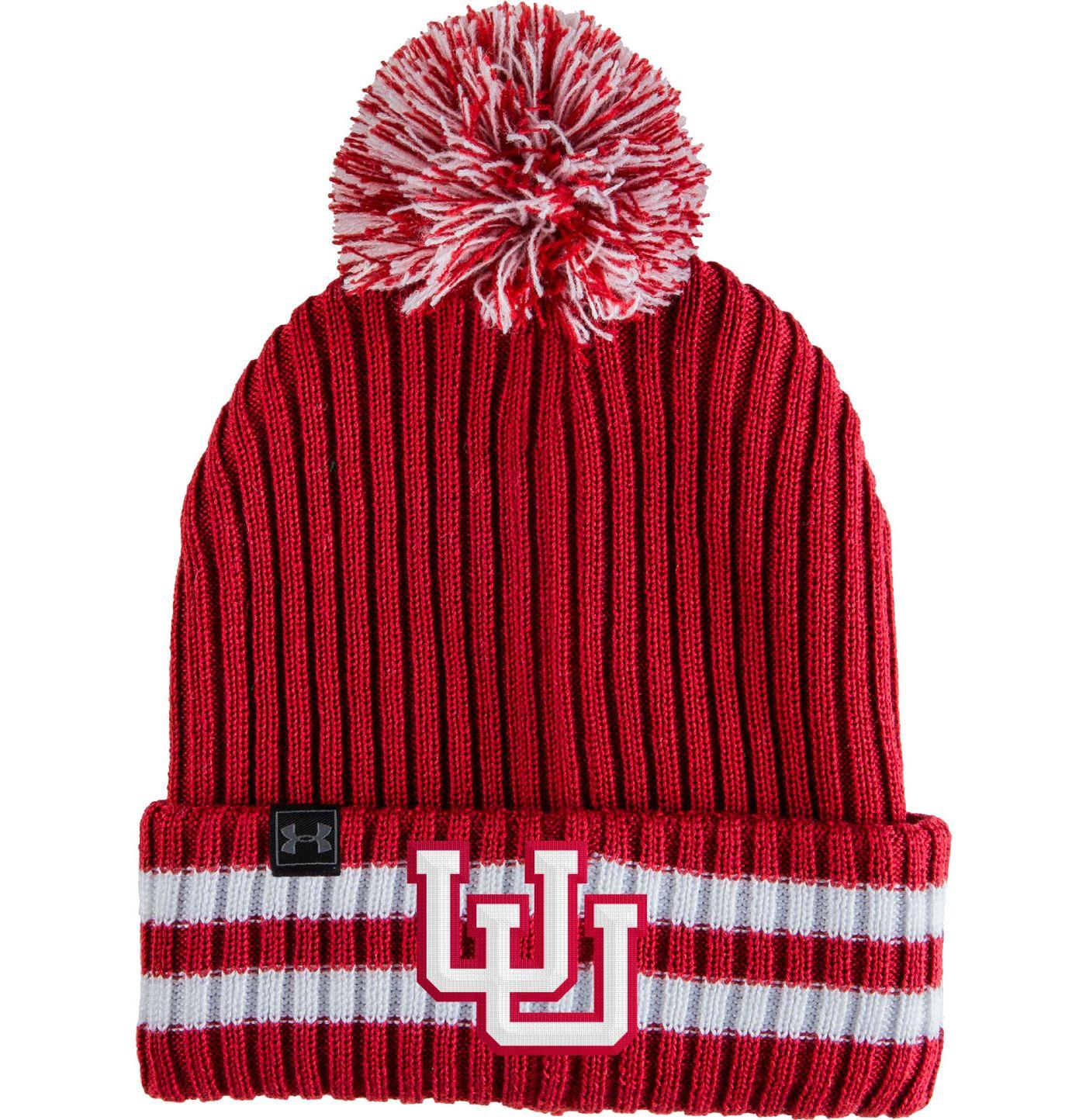 Under Armour Men's Utah Utes Crimson Fundamental Pom Knit Beanie
