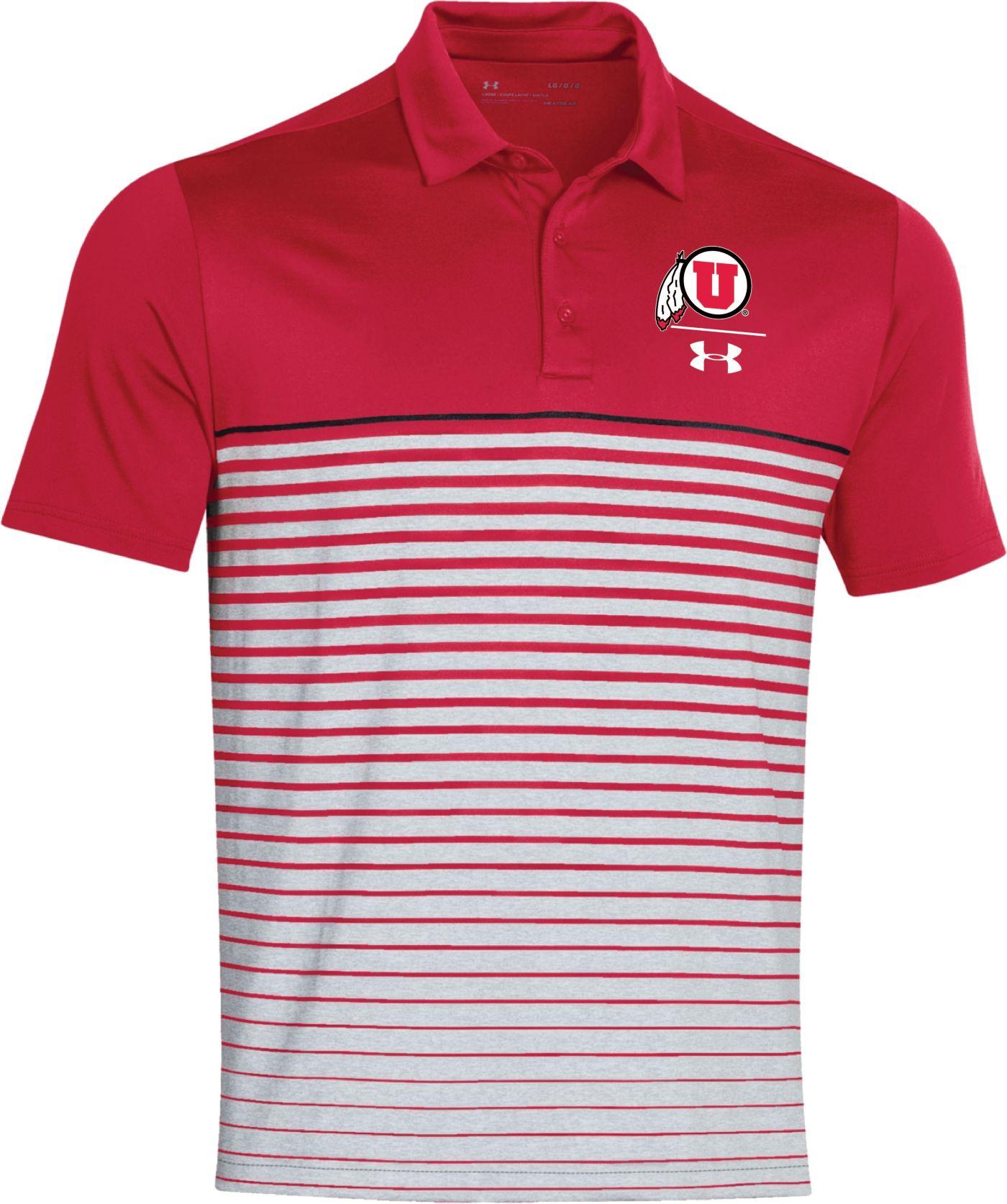Under Armour Men's Utah Utes Crimson Pinnacle Performance Sideline Polo