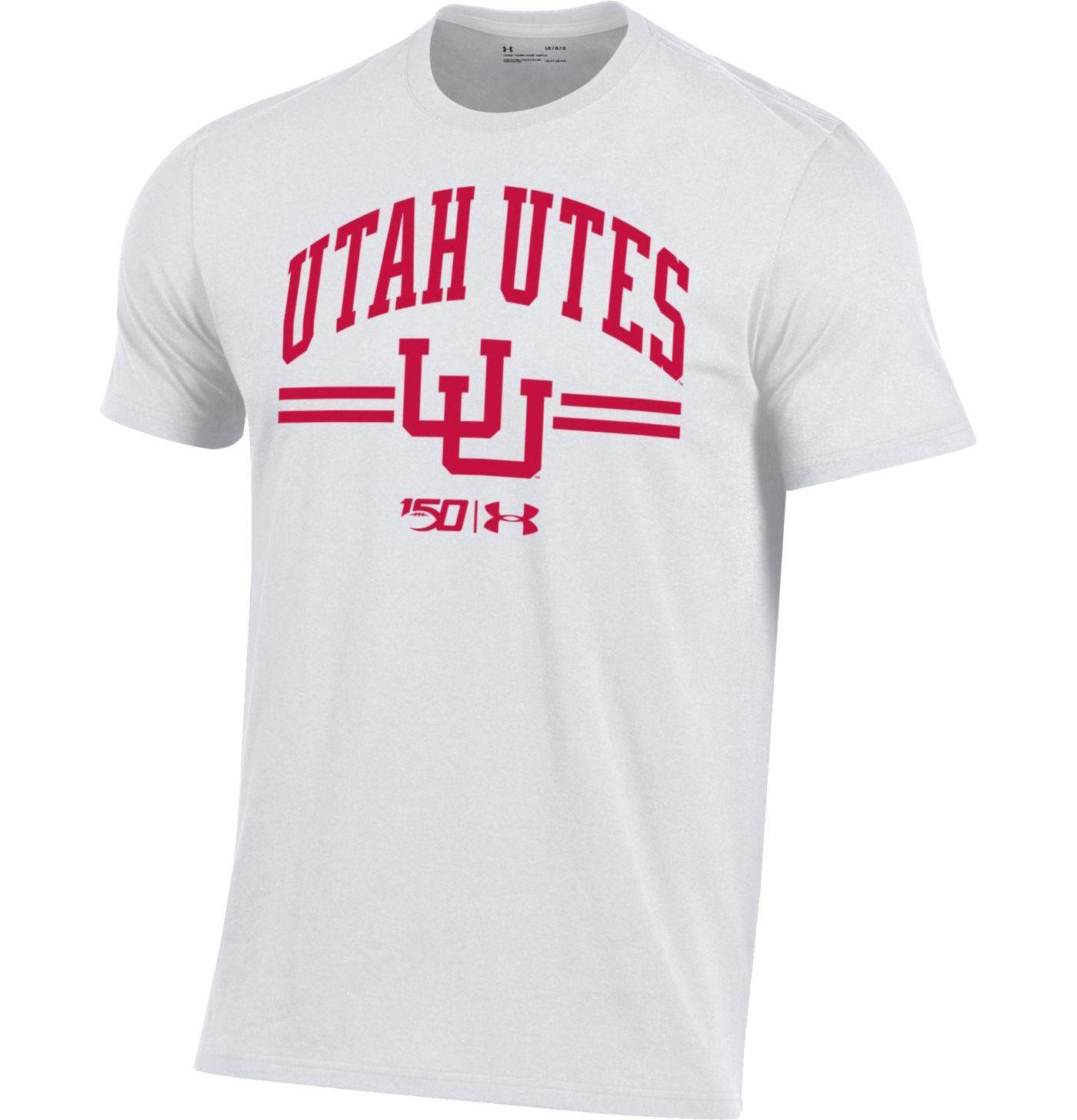 Under Armour Men's Utah Utes White 'CFB150' Performance Cotton Football T-Shirt