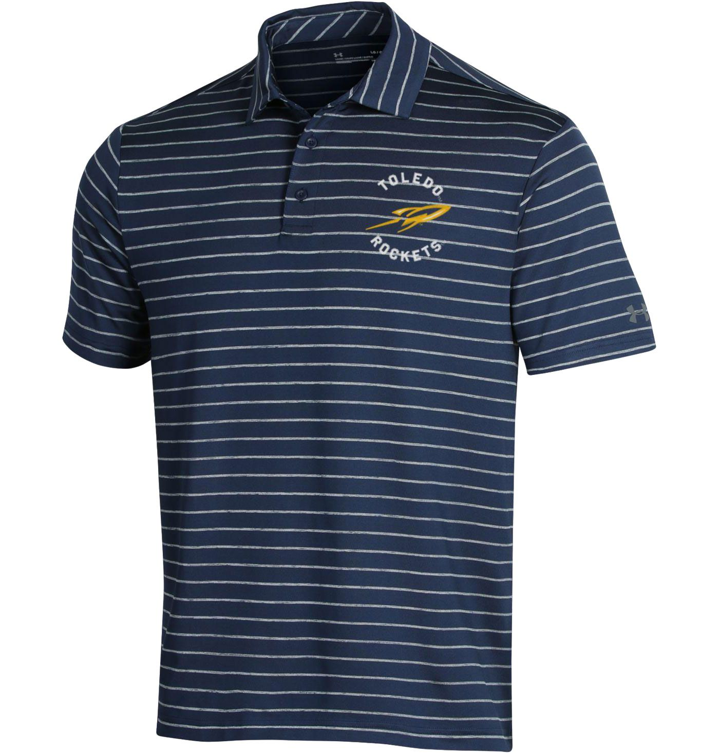 Under Armour Men's Toledo Rockets Midnight Blue Playoff Tour Striped Polo