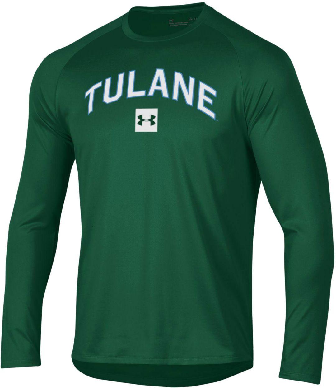 promo code d7d8d a695a Under Armour Men's Tulane Green Wave Olive Long Sleeve Tech Performance  T-Shirt
