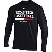 Under Armour Men's Texas Tech Red Raiders On-Court Performance Cotton Long Sleeve Basketball Black T-Shirt