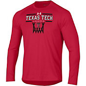 Under Armour Men's Texas Tech Red Raiders Red On-Court Tech Performance Long Sleeve Basketball T-Shirt