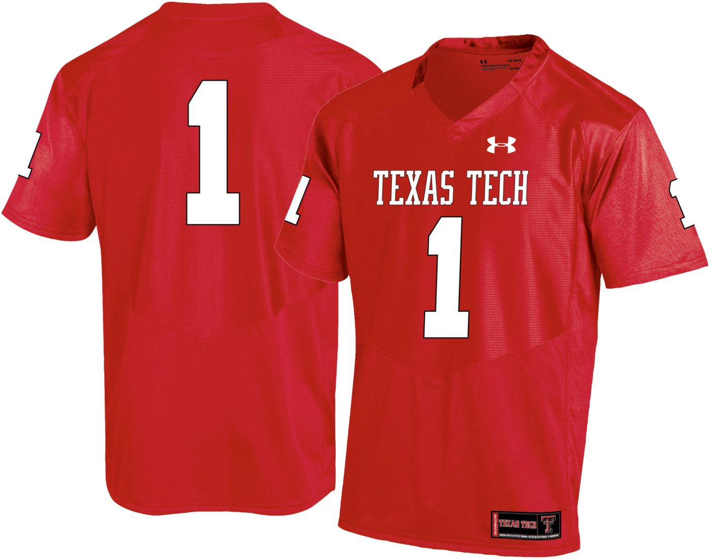 Under Armour Men's Texas Tech Red Raiders #1 Red Replica Football Jersey
