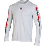 Under Armour Men's Texas Tech Red Raiders Hype On-Court Long Sleeve Basketball White T-Shirt