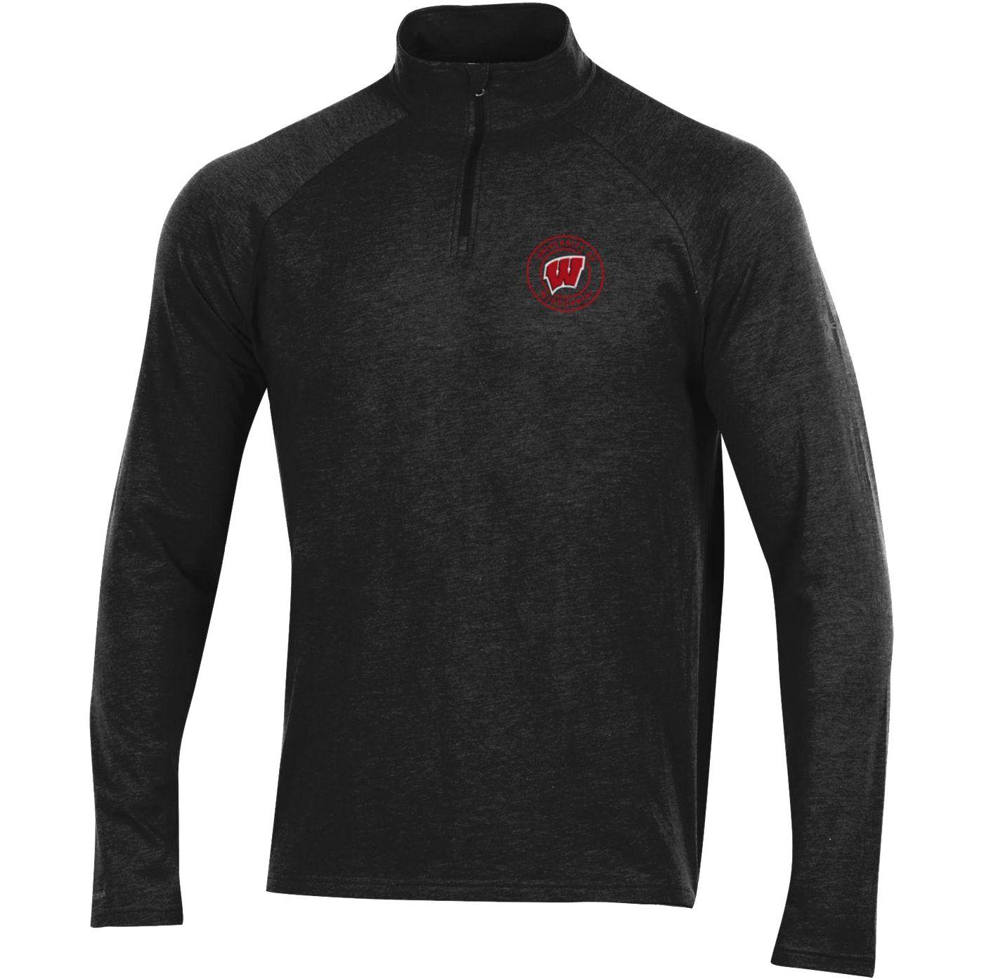 Under Armour Men's Wisconsin Badgers Charged Cotton Quarter-Zip Black Shirt